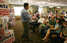 Steve Griffin  |  The Salt Lake Tribune U.S. Rep. Jason Chaffetz talks during a town hall meeting at the Holiday Inn Express in American Fork on Wednesday, Aug. 10, 2011.