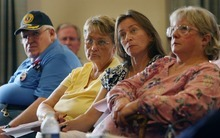 Steve Griffin  |  The Salt Lake Tribune People listen to U.S. Rep. Jason Chaffetz as he talks during a town hall meeting at the Holiday Inn Express in American Fork on Wednesday.
