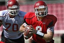 Scott Sommerdorf  |  The Salt Lake Tribune Utah QB Jon Hays looks for a receiver during practice at Rice-Eccles stadium, Friday, August 12, 2011.