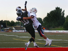 Scott Sommerdorf  |  The Salt Lake Tribune Alta's WR Jordan Urrutia (10) catches a pass for a TD that after the PAT, cut Timpview's lead to 14-7 near the end of the first half. Timpview and Alta were tied 14-14 at halftime in the first game of the high school football season, Friday, August 19, 2011.