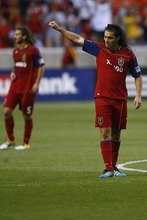 Djamila Grossman  |  The Salt Lake Tribune RSL's Fabian Espindola cheers after his team scored a goal in a penalty kick in a game last season.