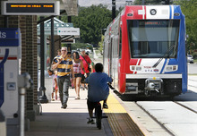 SCOTT SOMMERDORF  |  Tribune File Photo Ridership is up on TRAX now that the University of Utah is back in session. Still, numbers aren't hitting projections yet.