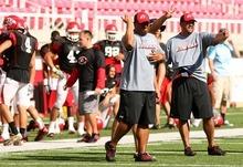 Leah Hogsten  |  The Salt Lake Tribune The University of Utah football team scrimmages Saturday, August 20 2011 in Salt Lake City.