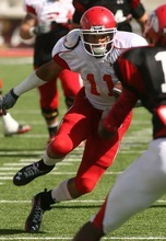 Leah Hogsten  |  The Salt Lake Tribune University of Utah football team's wide receiver Luke Matthews tries to unsuccessfully slip past defensive back Eric Rowe. The University of Utah football team scrimmages Saturday, August 20 2011 in Salt Lake City.