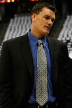 Chris Detrick | The Salt Lake Tribune Matt Harpring talks on the sideline before the game against the Denver Nuggets at the Pepsi Center Saturday, April 17, 2010.