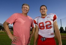 Trent Nelson  |  The Salt Lake Tribune University of Utah football player Jake Murphy, right, with his father, Dale Murphy, after practice in Salt Lake City, Utah, Wednesday, August 17, 2011.