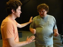 Courtesy photo Actors Andy Rindlisbach and John Belliston rehearse