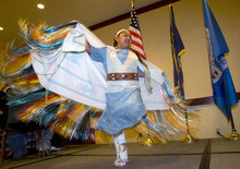 Al Hartmann  |  The Salt Lake Tribune Tiauna Walker, 10, a member of the Northwestern Band of the Shoshone,  dances for the annual Native American Summit in Salt Lake City on Tuesday.