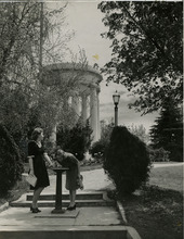 Salt Lake Tribune file photo  two women stop for a drink of water at Memory Grove in this 1940 photo.