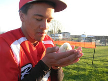 Courtesy photo | Carol Palmer  Ross Palmer and the chicken he got in return to his prom proposal