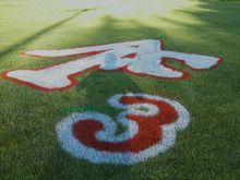 Courtesy photo | Carol Palmer  Ross Palmer's number painted on his high school football field following his collapse.