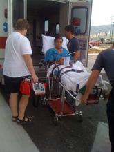 Courtesy photo | Carol Palmer  Ross Palmer loading ambulance in  Pocatello