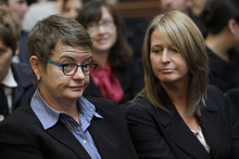 Plaintiff same sex couple Sandra Stier, right, and partner Kristin Perry, right, listen in a courtroom during a California State Supreme Court hearing in San Francisco on Tuesday, Sept. 6, 2011. On Tuesday, the California Supreme Court will be considering whether the sponsors of Proposition 8 have a legal right to appeal the federal court ruling that overturned the same-sex marriage ban, since the governor and attorney general refused to bring such an appeal. The 9th US District Court of Appeals, which has main responsibility for the case on appeal, asked the state court to weigh in on the question it deals with the stateís ballot initiative process. (AP Photo/Paul Sakuma)