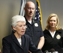 Acting US Attorney for the state of Utah, Carlie Christensen, along with police chief Chris Burbank and district attorney Lohra Miller  joined other law enforcement officials to announce grand jury indictments charging members of the Tongan Crip Gang  under federal RICO laws. Wednesday, May 12,2010  photo:Paul Fraughton/ The Salt Lake Tribune