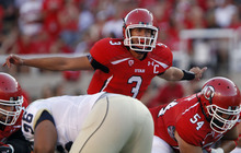 Utah quarterback Jordan Wynn (3) signals his team during the first half of an NCAA college football game against the Montana State at Rice-Eccles Stadium Thursday, Sept. 1, 2011, in Salt Lake City. (AP Photo/Jim Urquhart)