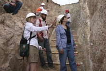 USU geology professor Tammy Rittenour, wearing white shirt, speaks with students in a research trench in the South Cache Fault.  Courtesy Mary-Ann Muffoletto  |  Utah State University