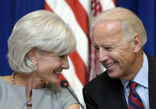 Vice President Joe Biden, right, speaks with Health and Human Services Secretary Kathleen Sebelius during a meeting on plans to cut government waste, fraud and abuse, Wednesday, Sept. 14, 2011, in the Eisenhower Executive Office Building on the White House campus in Washington. (AP Photo/Susan Walsh)