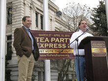 Donald W. Meyers |  Tribune File Photo David Kirkham, Utah tea party organizer, says he is taking a serious look at challenging Gov. Gary Herbert. Kirkham had been considering a run against Sen. Orrin Hatch and says he still has not yet ruled that out. In this file photo, Kirkham, right, introduces Provo Mayor John Curtis at the Tea Party Express stop at the Historic Utah County Courthouse in Provo.