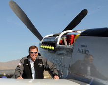 INCLUDES ADDITION THAT PILOT WAS KILLED IN CRASH-This Wednesday, Sept. 15, 2010 photo, shows long time Reno Air Race pilot Jimmy Leeward with his P51 Mustang.  A spokesman for Reno's National Championship Air Races says the P-51 Mustang that crashed into a box seat area at the front of the grandstand Friday, Sept. 16, 2011, at the air race was piloted by Leeward. An official reported Friday that Leeward was killed in the crash. (AP Photo/The Reno Gazette-Journal, Marilyn Newton)