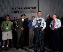 Nevada Governor Brian Sandoval speaks to the press after a vintage World War II-era fighter plane plunged into the grandstands during a popular annual air show, killing at least three people, injuring more than 50 spectators at the Reno Air Races in Stead, Nev., on Friday, Sept. 16, 2011. (AP Photo/Kevin Clifford)