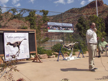 Alan Titus, BLM paleontologist for the Grand staircase-Escalante National Monument on Saturday announces the naming of a new dinosaur discovered on the monument   at a celebration in Kanab also held to commemerate the 15th anniversary of the monument. Mark Havnes/The Salt Lake Tribune