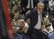 Steve Griffin  |  The Salt Lake Tribune file photo   Utah head coach Jerry Sloan yells instructions to his team during first half action of the Utah Jazz versus New Jersey Nets basketball game at EnergySolutions Arena in Salt Lake City in November. Sloan stepped down as head coach in February.