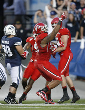 Rick Egan | The Salt Lake Tribune  Utes defensive end Derrick Shelby (90) celebrates his fumble recovery during BYU's game against Utah at Lavell Edwards Stadium in Provo, Utah September 17, 2011.