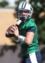 Rick Egan   |  The Salt Lake Tribune   BYU QB, Jake Heaps, throws the ball during practice at the Fall Football Camp at BYU, Saturday, August 6, 2011