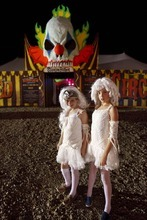 Trent Nelson  |  The Salt Lake Tribune Bella Thornton and Elle Wilbern are two tightrope walkers who had an accident at the Strangling Brothers Haunted Circus in Draper on Friday. Strangling Brothers has 23 custom designed tractor-trailers, each with a different experience and innovative lighting and sound environments.