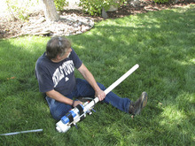 Tribune columnist Robert Kirby prepares to test-fire his propane-powered potato cannon. (Courtesy Sonny Doyle)