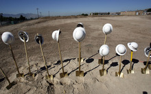 Francisco Kjolseth  |  The Salt Lake Tribune  Shovels and hard hats remain flollowing a ceremony in which the Veterans Affairs Salt Lake City Health Care System and the Salt Lake City Housing Authority broke ground on Valor House, a transitional housing facility for homeless Veterans, on Tuesday. The new building will be built behind the VA Hospital near Sunnyside Park.