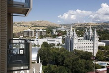 Trent Nelson  |  The Salt Lake Tribune The view of Temple Square from the balcony of a condominium on the 15th floor of the Promontory building, looking down into City Creek Center in downtown Salt Lake City, Utah, on Thursday, September 15, 2011.
