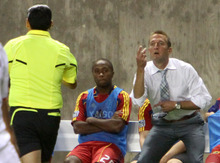 Real Salt Lake head coach Jason Kreis helps the referee count how many times Espindola has been knocked down without a call in the first half against the Chicago Fire in Rio Tinto Stadium. Stephen Holt/ Special to the Tribune