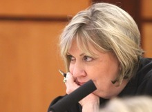 Rick Egan I The Salt Lake Tribune Judge Kathryn J. Nelson listens to arguments during the proceedings in the shelter care hearing at the Pierce County Superior Court house in Tacoma, Wash., on Wednesday. She ruled that the two sons of Josh and Susan Powell must remain in state custody.