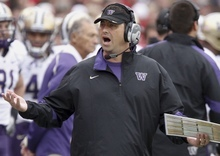 Washington coach Steve Sarkisian disagrees with a ruling by the umpires in the first half of an NCAA college football game against Nebraska, Saturday, Sept. 17, 2011, in Lincoln, Neb. (AP Photo/Nati Harnik)