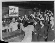 Speakeasy patrons offer a farewell toast to Prohibition, which took effect in December 1933. Courtesy St. Louis Post-Dispatch