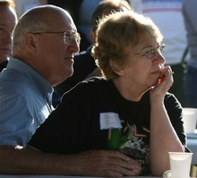 Leah Hogsten | The Salt Lake Tribune Democratic LDS political supporters  Bill and Sherri Park of Midvale listen to the stump speeches of Utah's representatives and senators at the Utah State Democratic Party's LDS Dems Kick-off pancake breakfast on  Saturday, October 1, 2011 in Murray Park.