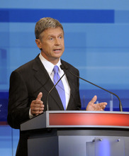 Republican presidential candidate former New Mexico Gov. Gary Johnson makes a statement during a debate Thursday, Sept. 22, 2011, in Orlando, Fla. (AP Photo/Phelan M. Ebenhack, Pool)