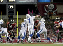 Indianapolis Colts quarterback Curtis Painter (7) throws a 87-yard touchdown pass to teammate wide receiver Pierre Garcon in the first half against the Tampa Bay Buccaneers of an NFL football game, Monday, Oct. 3, 2011, in Tampa, Fla. (AP Photo/Margaret Bowles)