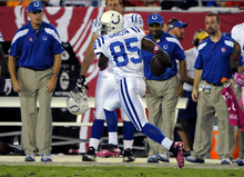 Indianapolis Colts wide receiver Pierre Garcon (85) runs in an 87-yard pass play for a touchdown during the second quarter of an NFL football game against the Tampa Bay Buccaneers, Monday, Oct. 3, 2011, in Tampa, Fla. (AP Photo/Brian Blanco)