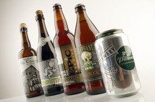 Francisco Kjolseth  |  The Salt Lake Tribune Beer geek, Mike Riedel names his current 5 favorite Utah beers which includes Squatters Fifth Element, Uinta's Crooked Line, Labyrinth Black Ale, Epic Brewery's Copper Cone Pale Ale, Red Rock Elephant Double IPA and Bohemian Czech Pilsener, from left.