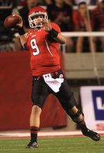 Rick Egan  | The Salt Lake Tribune    Utah Utes quarterback Jon Hays (9) throws down field,  in Pac-12 action, Utah vs. University of Washington, at Rice-Eccles stadium, Saturday, October 1, 2011.