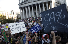 (AP Photo/Jason DeCrow) Protesters nationally have varied causes but have reserved most of their criticism for Wall Street. They've spoken out about unemployment and economic inequality, saying