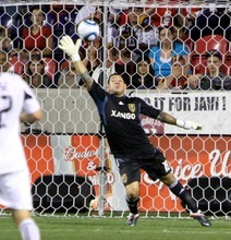 Real Salt Lake goalkeeper Nick Rimando lets one slip by for a Chicago Fire goal during their 0-3 home loss in Rio Tinto Stadium. Stephen Holt/ Special to the Tribune