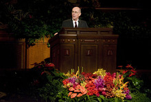 Jeremy Harmon  |  The Salt Lake Tribune  President Henry B. Eyring conducts the Saturday morning session of the 181st Semiannual General Conference of The Church of Jesus Christ of Latter-day Saints in Salt Lake City.