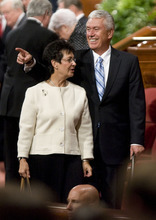 Jeremy Harmon  |  The Salt Lake Tribune  President Dieter F. Uchtdorf points to someone in the crowd as he and his wife, Harriet Uchtdorf, leave after the Saturday afternoon session of the 181st Semiannual General Conference of The Church of Jesus Christ of Latter-day Saints on Saturday, Oct. 1, 2011.