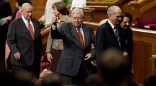 Jeremy Harmon  |  The Salt Lake Tribune  Elder M. Russell Ballard, center, gives a thumbs up to the crowd as he and other members of the Quorum of the Twelve leave the stand after the Saturday afternoon session of the 181st Semiannual General Conference of The Church of Jesus Christ of Latter-day Saints on Saturday, Oct. 1, 2011.