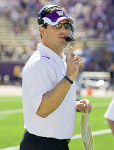 University of Washington coach and former BYU quarterback Steve Sarkisian brings the Huskies to LaVell Edwards Stadium to meet his old team Saturday afternoon. It marks Sarkisian's first return to Provo since his playing career. (AP Photo/Stephen Brashear)