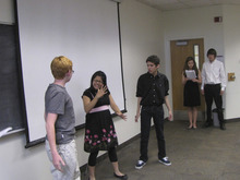 Mark Havnes | The Salt Lake Tribune Actors Christian Jacobs, left with red hair, Itzel Garcia and Danny Himes, all students at the Utah Schools for the Deaf and the Blind in Salt Lake City, perform a scene from Shakespeare's