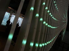 Steve Griffin  |  The Salt Lake Tribune   The new Leonardo museum , fashioned out of the old Salt Lake City Library, opened to the public on Saturday  October 8, 2011 in Salt Lake City Utah. Here people enjoy the interactive exhibits as a wall of lights changes patterns.